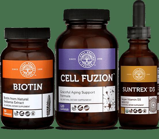 biotin bottle, cell fuzion cell, suntrex d3 bottle