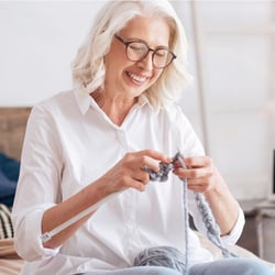 Supports Brain & Nervous System – Elderly woman knitting