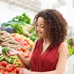 Meets Nutritional Needs – Woman selecting fruits and vegetables at a grocery store